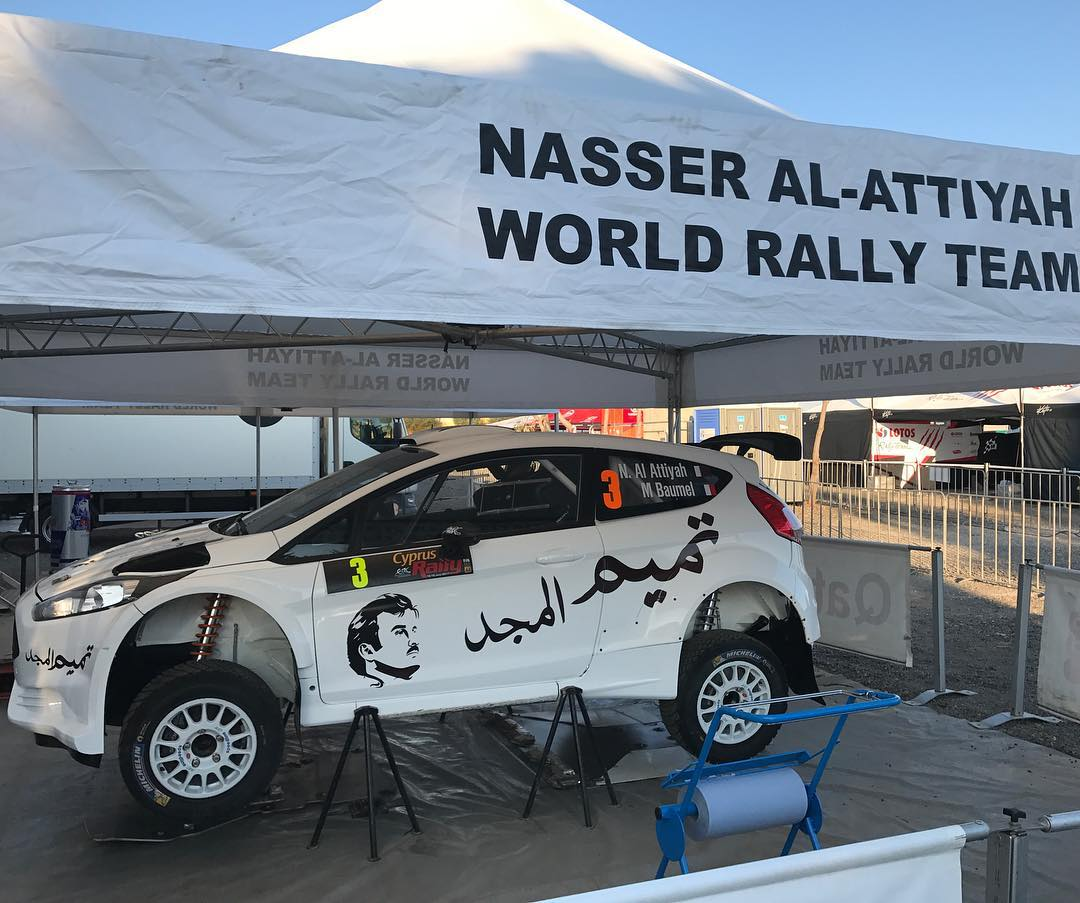 The slogan «Tamim Al-Majd» decorates Attiyah's car