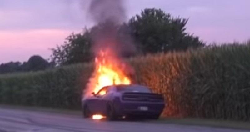 شاهد: دودج تشالنجر SRTتحترق بشكل كامل على الطريق