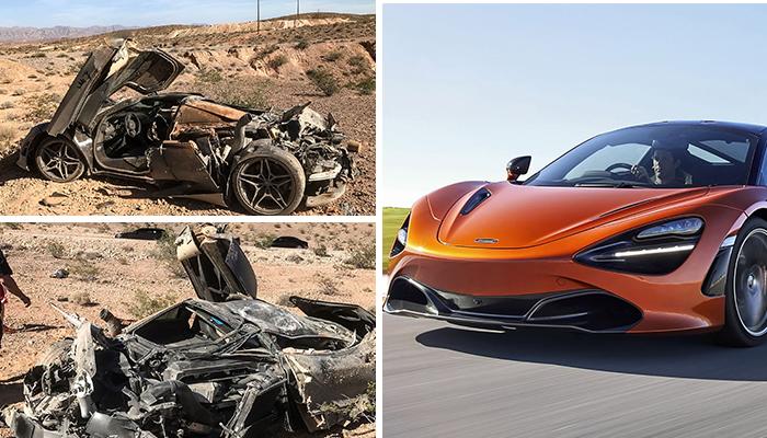 A car race accident turns McLaren 720S into a pile of scrap