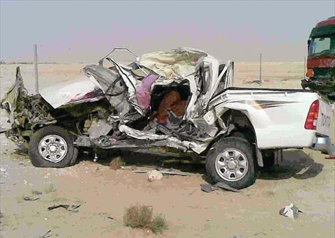 Three people killed in road accident on Al Kharara Highway
